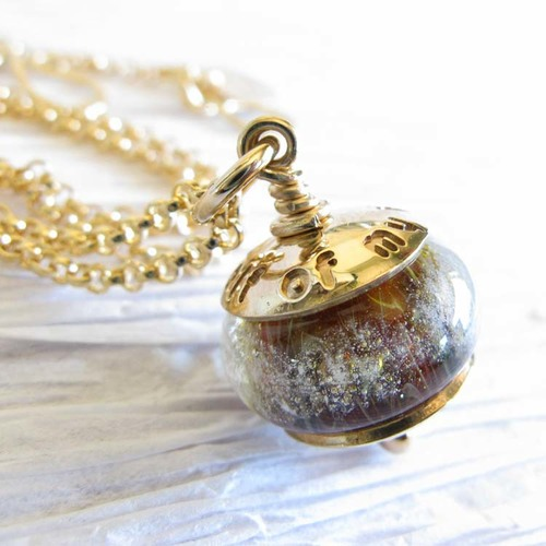 Sentiment 14k gold cremation ashes glass bead jewelry personalized sentiment glass cremation jewelry personalized solid 14k gold pendant bead necklace 8 aloadofball Choice Image