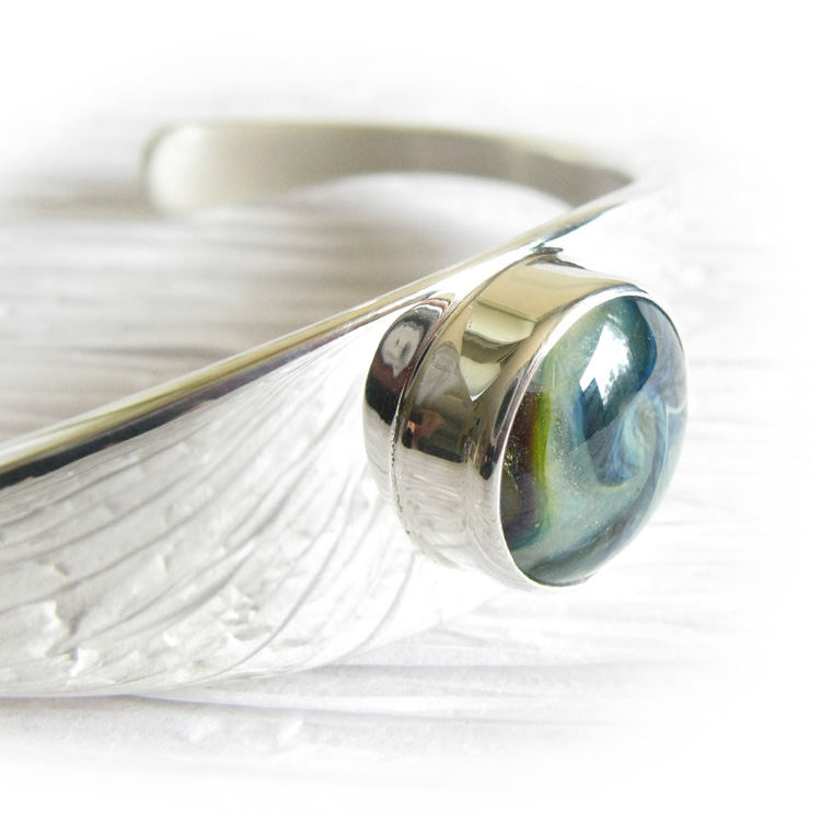 Everlasting ~ Glass cremation jewelry sterling silver cuff bracelet11.jpg