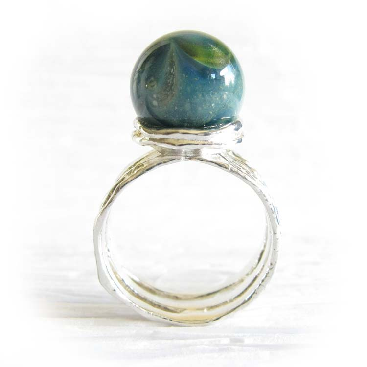 Reflection ~ Glass cremation ring sterling silver organic jewelry (6).jpg