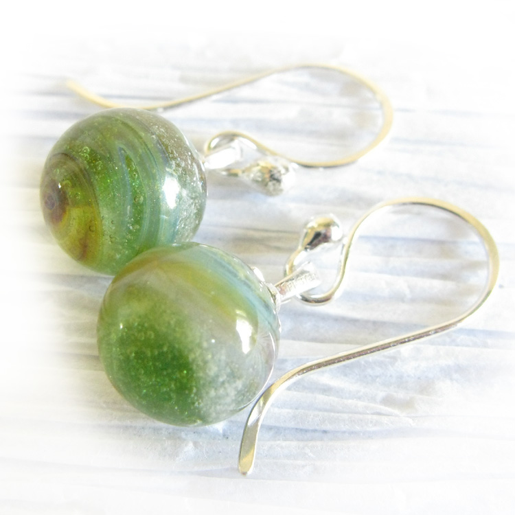 Heavenly ~ Glass cremation jewelry simple sterling silver earrings (9).jpg