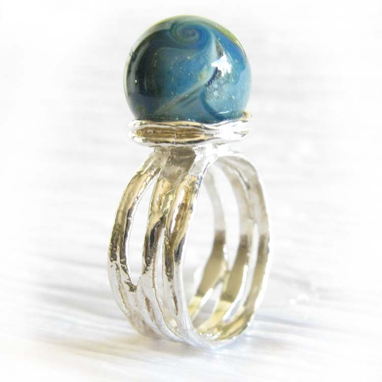 Reflection ~ Glass cremation ring sterling silver organic jewelry (4).jpg