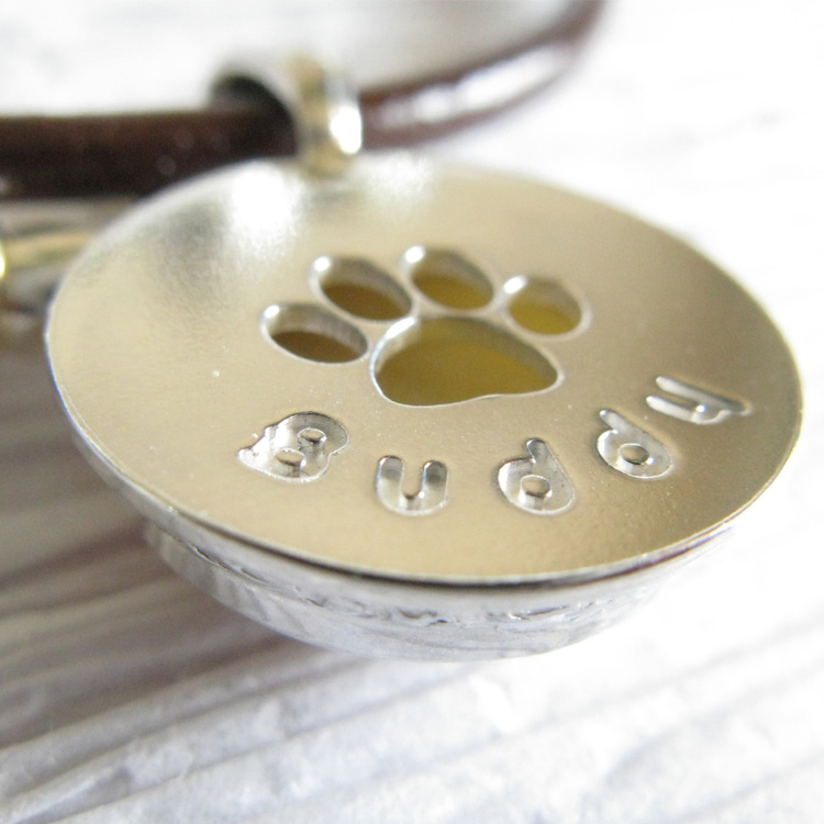Rainbow Bridge ~ Pet glass cremation memorial necklace wiht paw print sterling silver and leather (3).jpg
