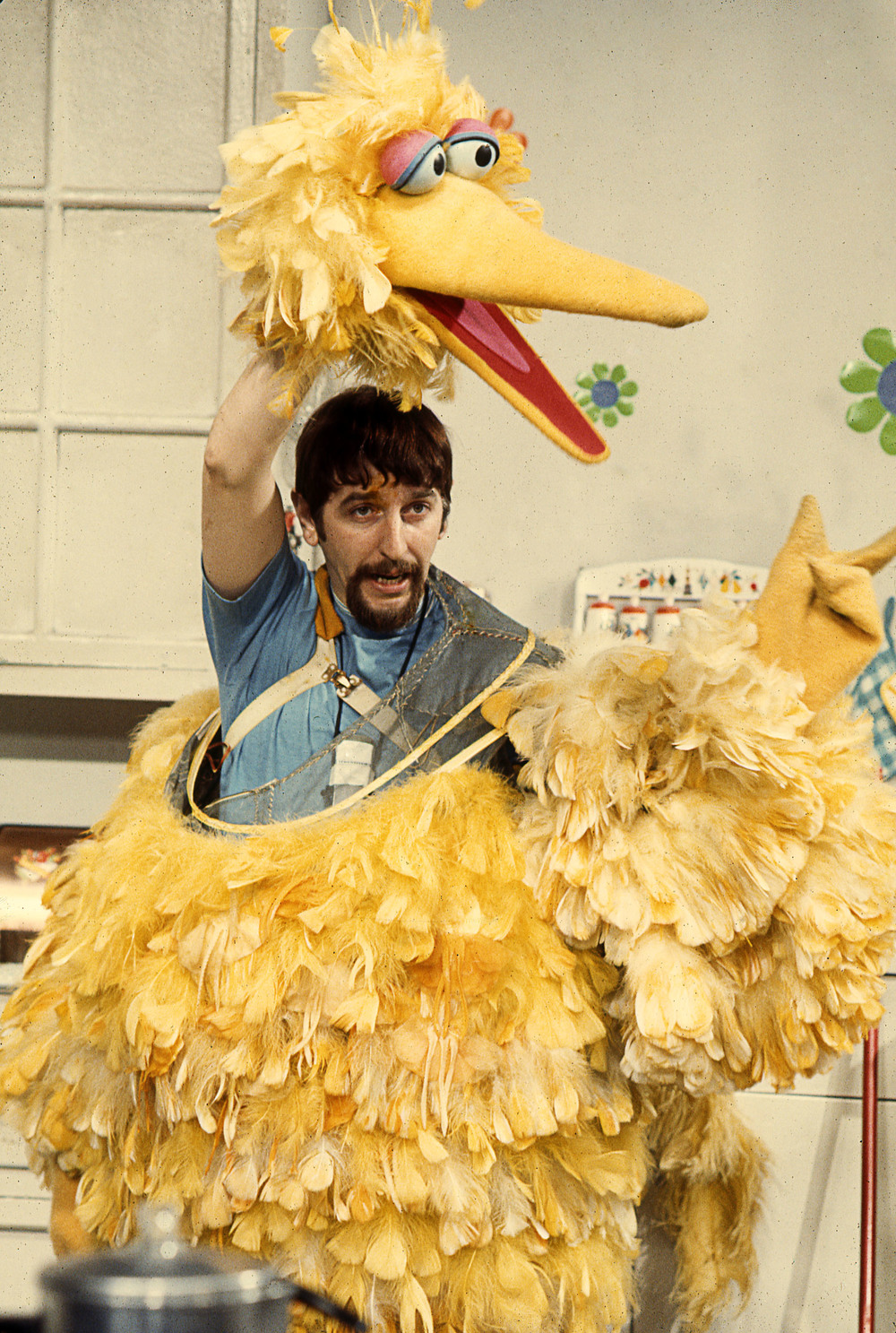 Archival photo of Caroll Spinney puppeteering Big Bird. Photo courtesy of Robert Furhing.