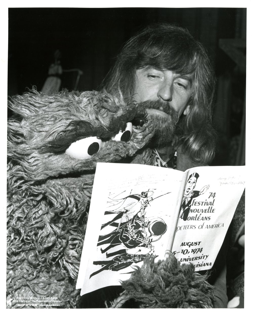 Archival photo of Caroll Spinney and Oscar The Grouch. Photo courtesy of Gary Boynton/Puppeteers of America.