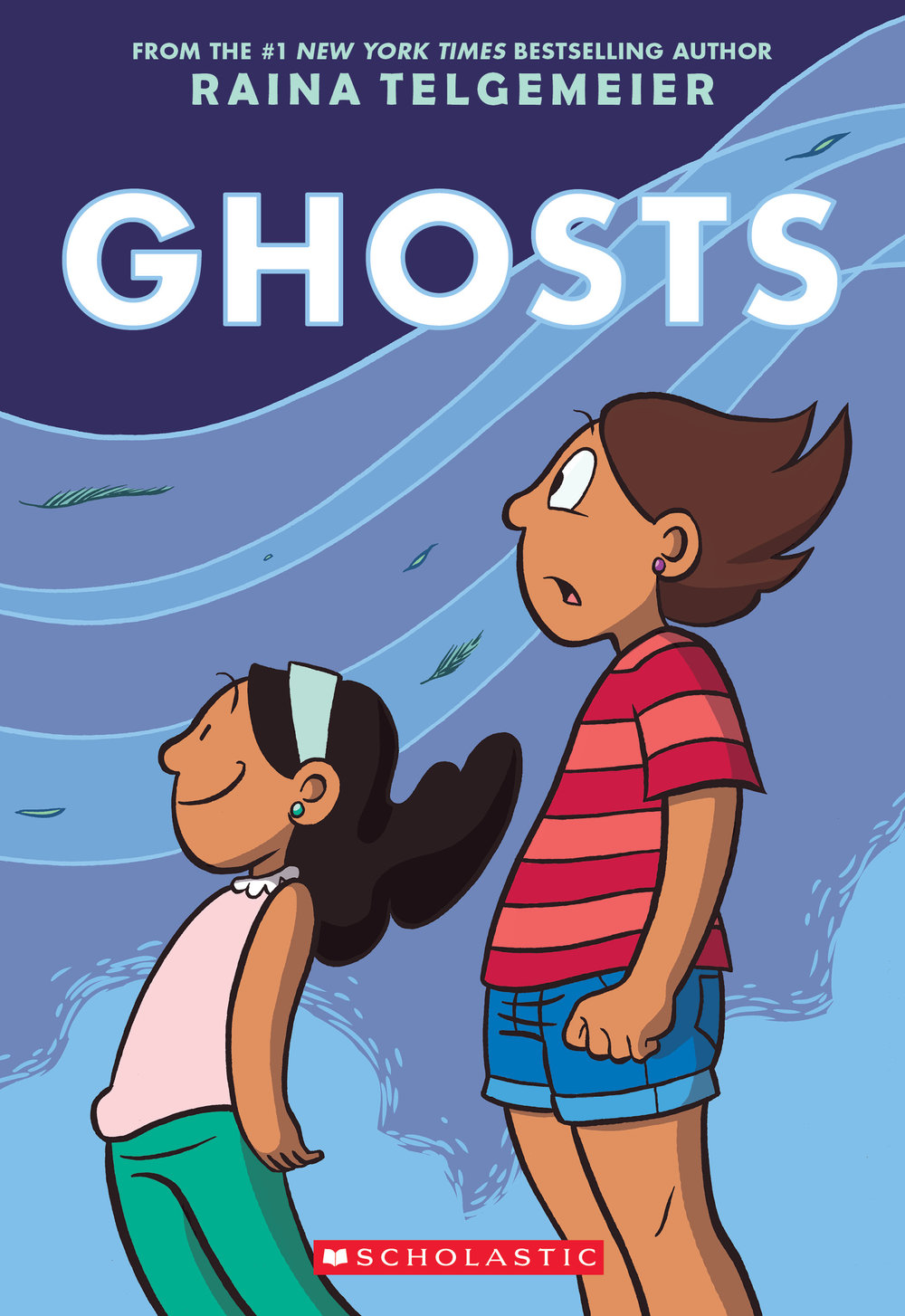 Ghosts by Raina Telgemeier   Cat's family are moving to a small and foggy town on the California coast because her sister Maya has cystic fibrosis and the damp air will help with her breathing. Cat is not happy about it, but she loves her sister and worries about her, so she tries to make the best of it. Everything changes when the girls discover that the town is a portal where friendly ghosts can cross into the real world and come to the Dia de Los Muertos celebrations. Maya makes friends with the ghosts and Cat learns that living your life is more important than worrying about death. This graphic novel from middle grade powerhouse Raina Telgemeier is funny, moving, smart and emotionally mature. It's already a huge hit with our regular readers and rightly so.