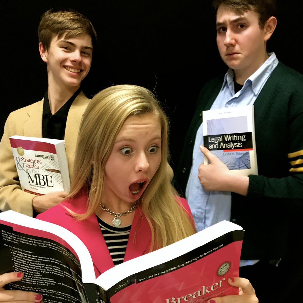 L to R: Morgan Hunt as Emmett, Ellie Bednarz as Elle Woods, Matthew Peterson as Warner