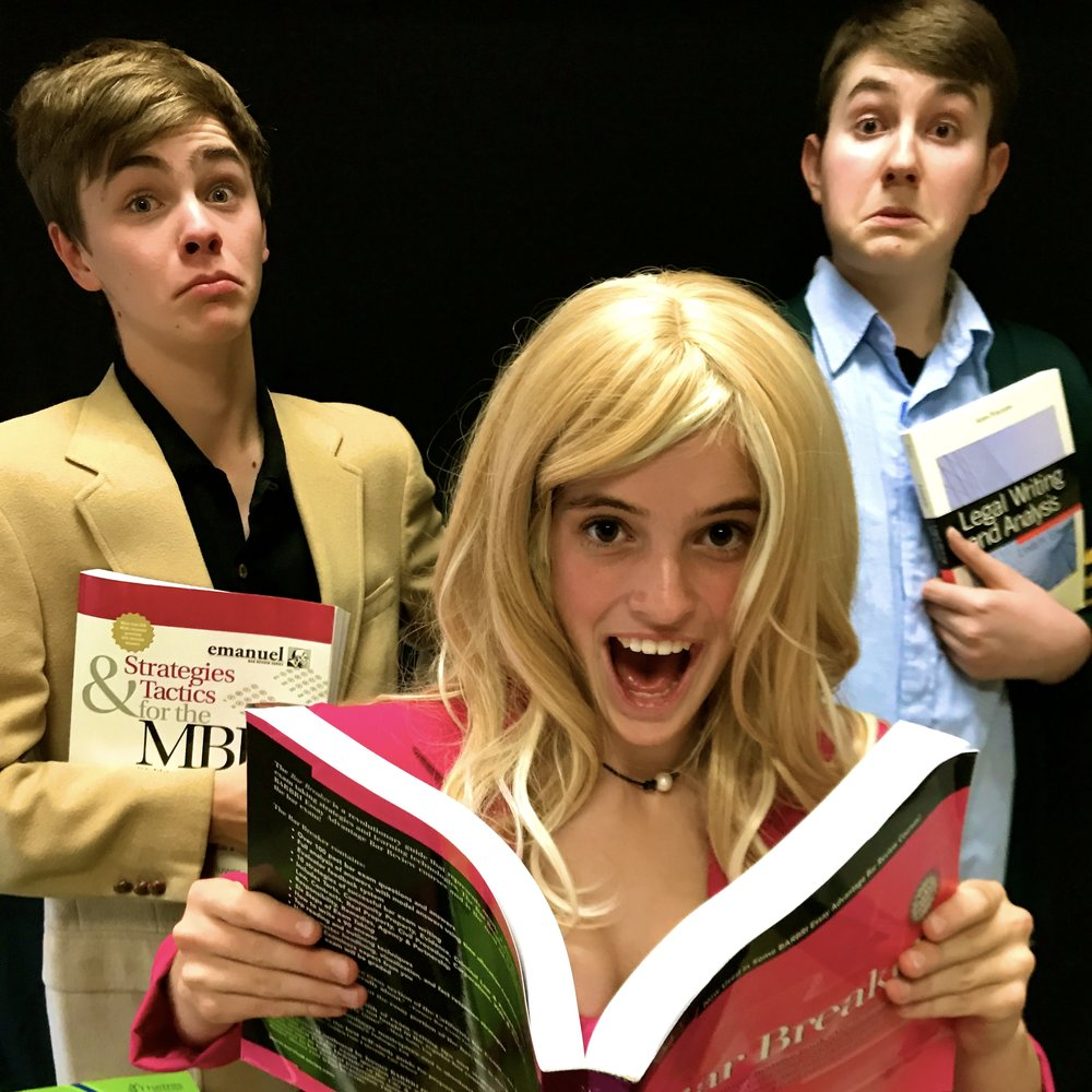 L to R: Morgan Hunt as Emmett, Jordan Paff as Elle Woods, Matthew Peterson as Warner