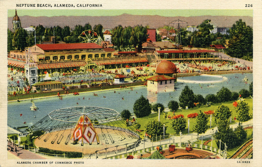 Historic postcard of Neptune Beach, Alameda, CA  courtesy of the Alameda Chamber of Commerce