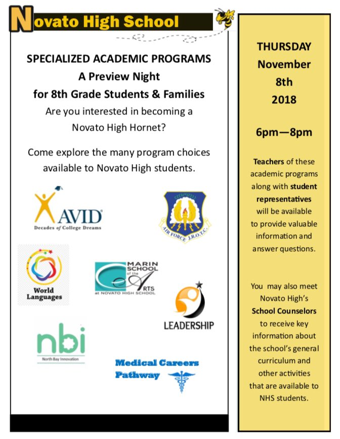 Medical Careers List >> Novato High School Preview Night For 8th Graders Ronnie S