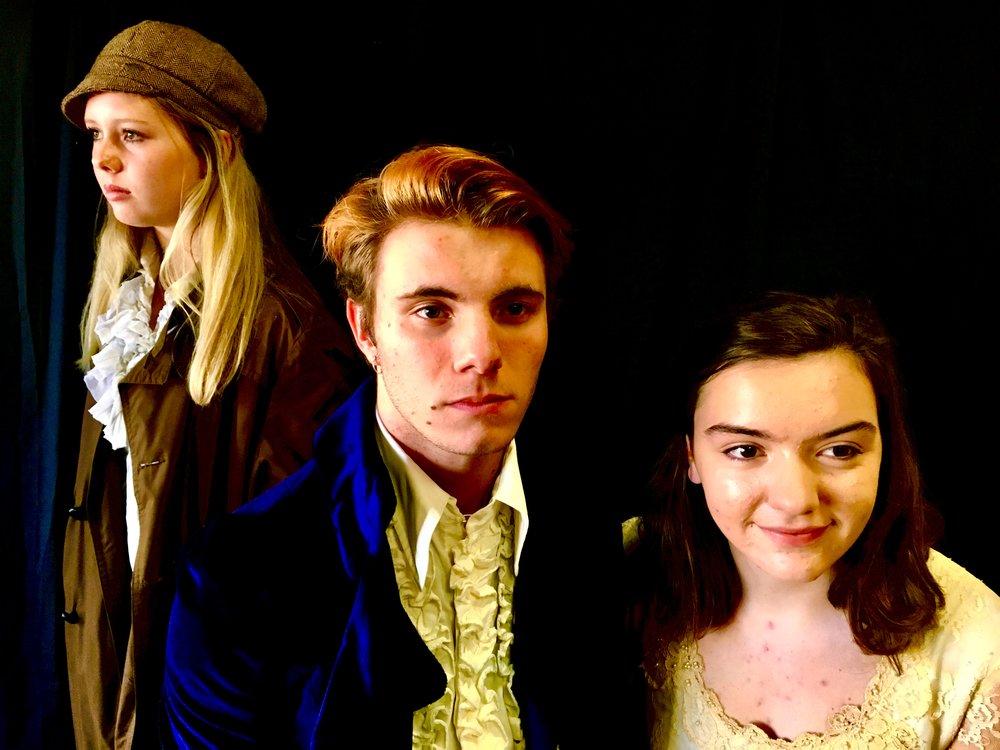 Ellie Bednarz as Eponine, Joshua Martinez as Marius, Olivia Hoover as Cosette.