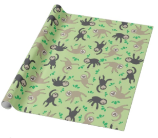 Recycled Holiday Wrapping Paper - Great options are sold by charitable organizations such as the Toucan Rescue Ranch. Check out this super cute sloth wrapping paper.Avoid purchasing shiny wrapping paper as it can disrupt the optical sorting process at the recycling center. Tissue paper is a good option. Most can be reused and then composted.