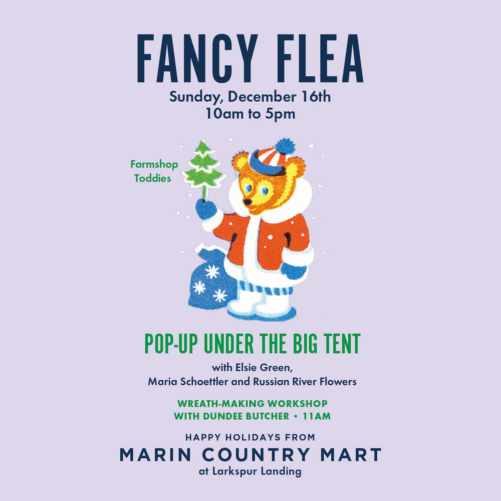 Fancy Flea - DECEMBER 16: Elsie Green & Friends return for this year's Fancy Flea, a chance to shop local & visiting sellers of antiques, home goods, décor items, art, and more – perfect for checking off your holiday list! Wreath making at 11am with Dundee Butcher of Russian River flowers. Maria Schoettler will be there with her hand painted cards, calendars and more. CANCELLED due to weather.DECEMBER 18 - Kids make melting snowman cupcakes in front of Toy Crazy 4-6pm!DECEMBER 21 - Holiday glass harp music at Fisher's with holiday cookie decorating for kids 11am-2pm!DECEMBER 22-23 Friday Night Jazz featuring Sanford Bennett and Holiday Soul plays holiday tunes on the glass harp at the Mart! 11am-2pm on 12/22, 2:30-4pm on 12/23.DECEMBER 24 - Celebrate Christmas Eve at the Mart with Kids Holiday Music, holiday crafts with SCRAP, and cookie tray making with repurposed materials for Santa 2:30pm-5pm!