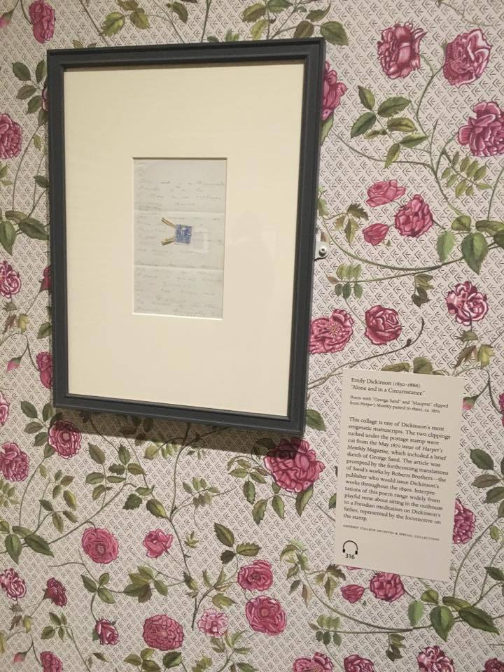 This poem is displayed on a replica of the wallpaper that would have been in her room.