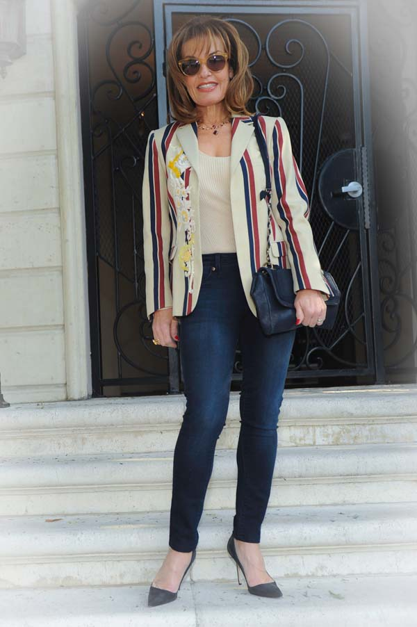 Dries Van Noten Blazer , The Row Sweater,  DL 1961 Jeans ,  Manolo Blahnik Pumps , Lanvin Handbag