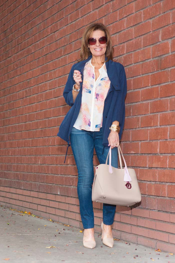 J Brand Jacket, Rebecca Taylor Top, 3x1 high rise jeans, Christian Dior Handbag, Vince Pumps.