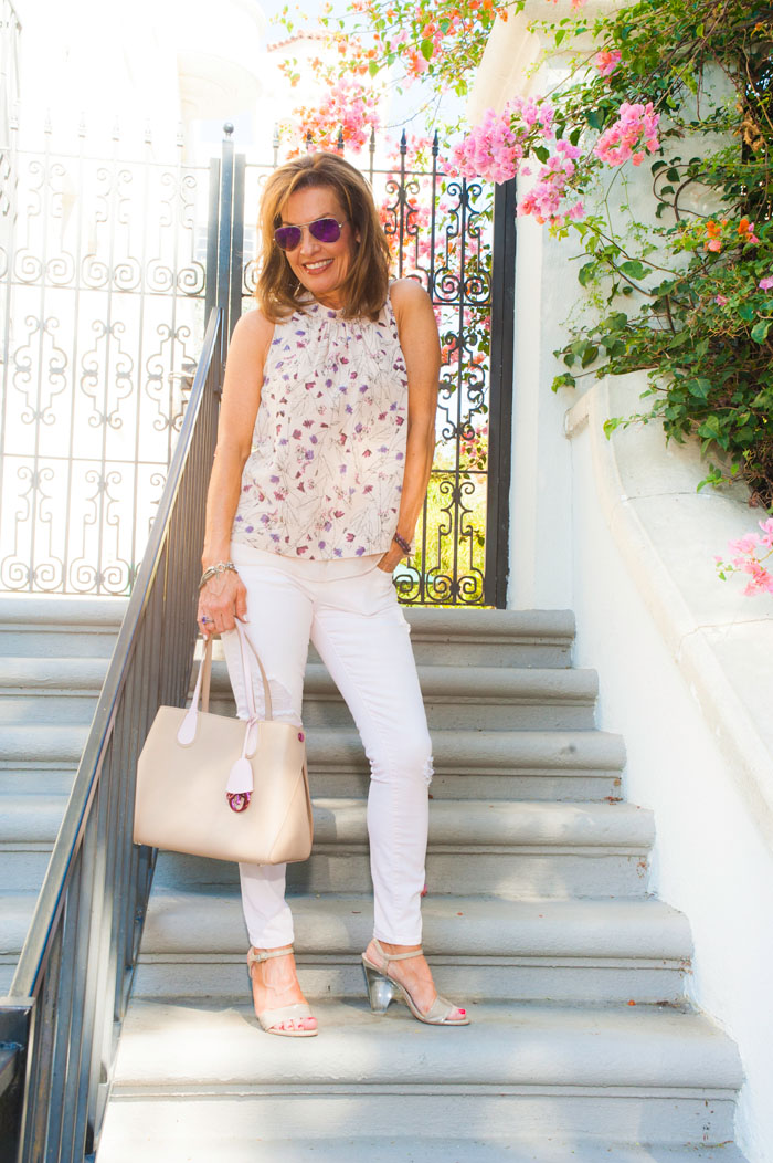 Rebecca Taylor Blouse, Current/Elliott Jeans, Stuart Weitzman Sandals, Christian Dior Tote, Ray-Ban Sunglasses, Nancy Newberg Earrings, Sarah Pachini Bracelet (right), Robin Terman Bracelet (left).