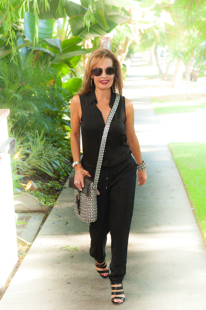 Haute Hippie Jumpsuit, Gianvito Rossi Sandals, also seen  here . Glad Rag Bags Handbag and Cuff, Oliver Peoples Shades.