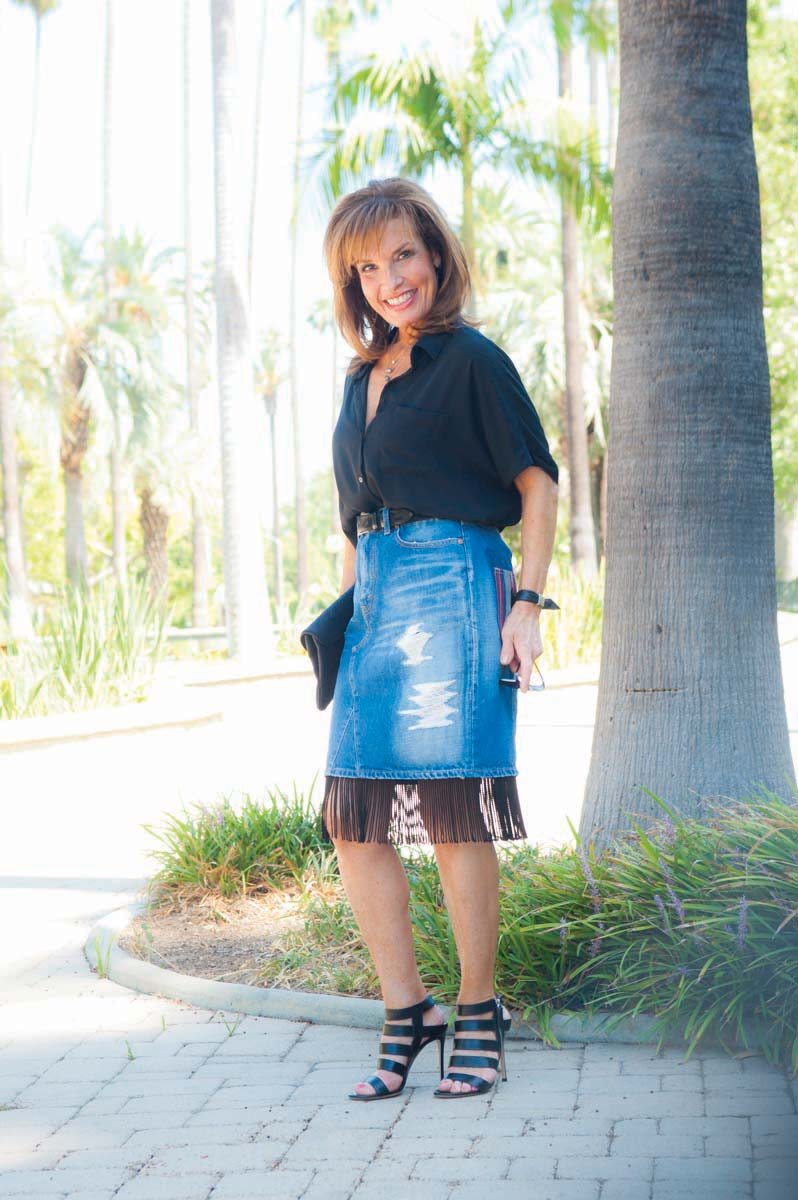 Junya Wantanabe Fringe Skirt , Gianvanito Rossi Heels, Oliver Peoples Shades, Robin Terman Necklace.