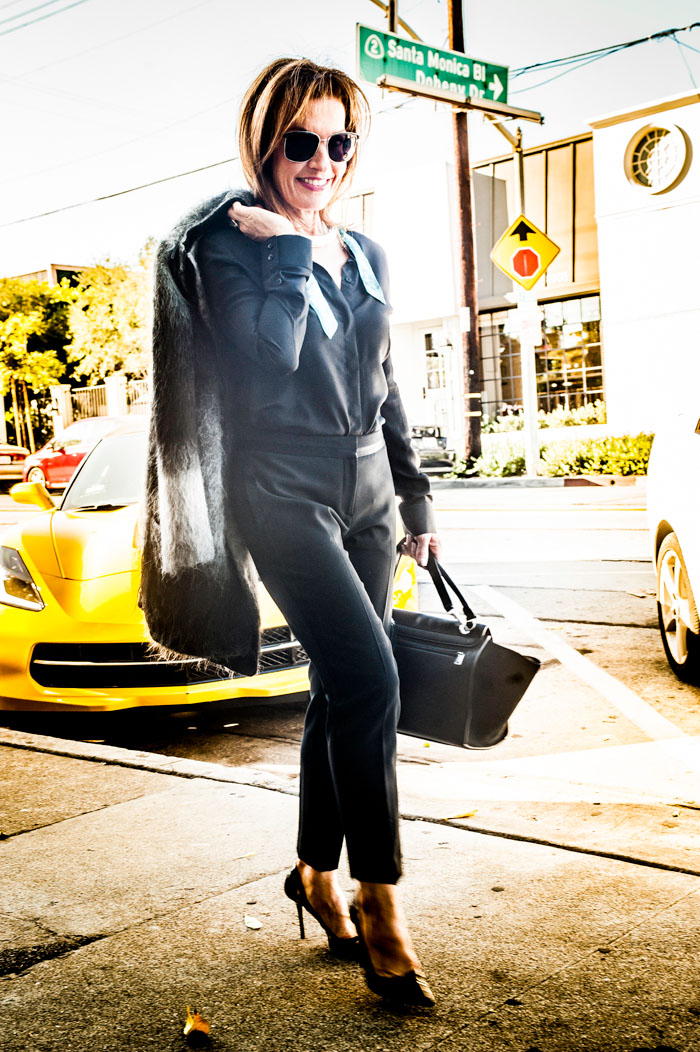VENIA Coat and Blouse. Theory Pants. Jimmy Choo Heels. Céline Handbag. Oliver Peoples Shades.