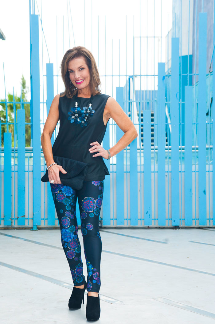Cynthia Rowley Leggings ,  Equipment Top , Lanvin Necklace,  Stuart Weitzman Shoes , Lauren Merkin Clutch.