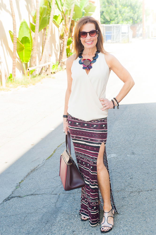 Peter Cohen Blouse, Forever 21 Skirt, Stuart Weitzman Sandals, Marni Necklace, Lisa Hoffman Bracelets, Celine Bag.