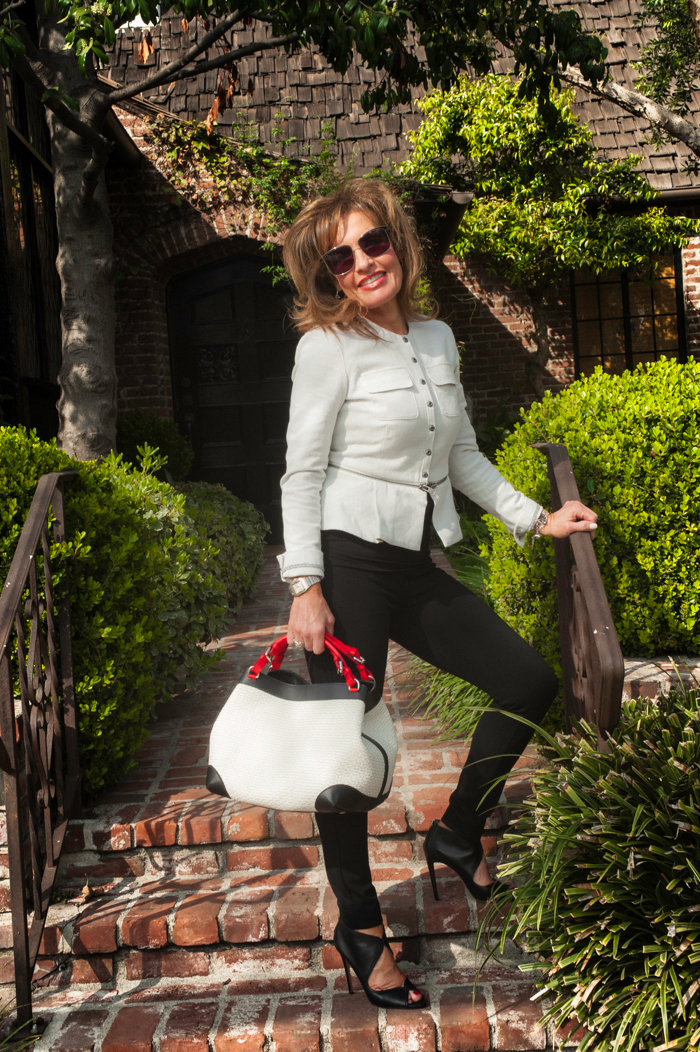 Zip Line Blazer ,  Tiffany Pant ,  Sleeveless Double Drape Tee , (all by CAbi).  Caroline De Marchi  Handbag, available at  Savannah Santa Monica . Aquazzura Heels, similar for less  here . Barry Brinker Bracelet, available at  Saks Fifth Avenue .