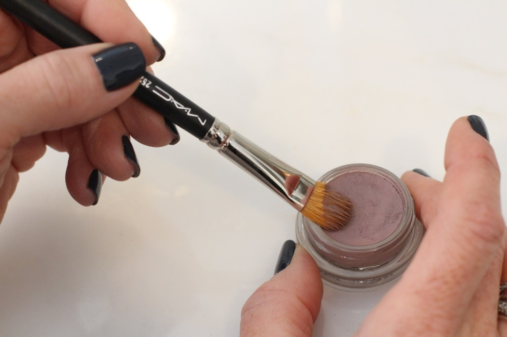 Use a wide shadow blush when applying this cream eyeshadow (which stays on ALL day by the way!)