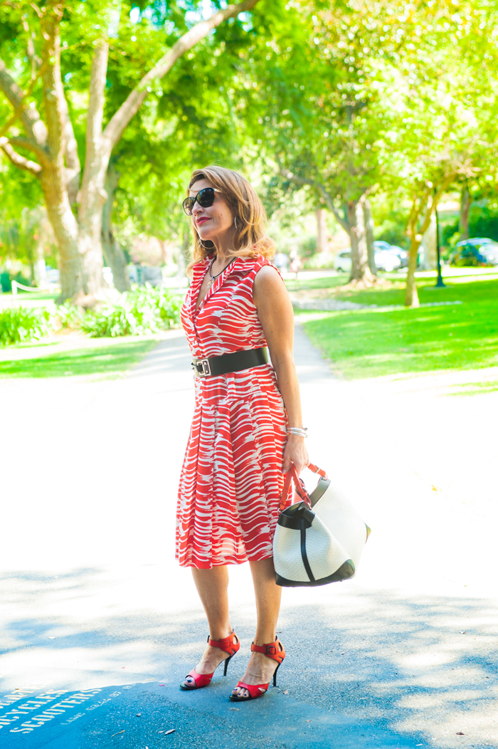 CAbi Dress, Barbara Bui Belt, also seen here, Bottega Veneta Shoes, Caroline De Marchi Handbag, also seen here, Chanel Shades, Sarah Pacini Necklace, John Hardy Bracelet, Spinellikilcollin Ring, available at Savannah Santa Monica, NARS Heat Wave Lipstick.