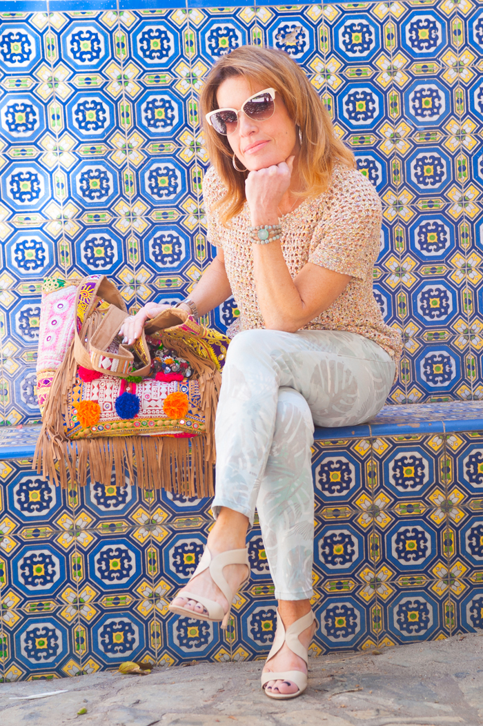 Calypso St. Barth Handbag, CAbi Sorbet Pullover, Paradise Cropped Jean, Gianvito Rossi Sandals, Robin Terman Bracelets, Oliver Peoples Sunglasses, John Hardy Hoops.