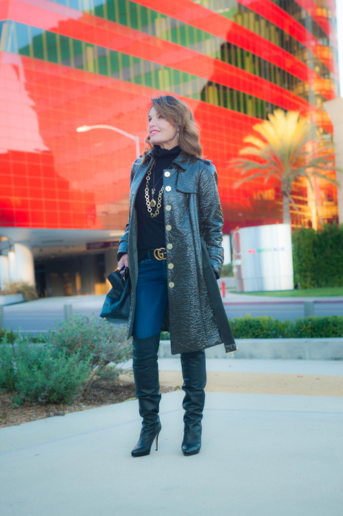 Worth New York Coat, Aqua Turtleneck, Rag and Bone Jeans, Jimmy Choo Over-the-Knee Boots, similar on sale here, Stephanie Kantis Necklaces, Gucci Belt, Valentino Handbag, Celine Shades.