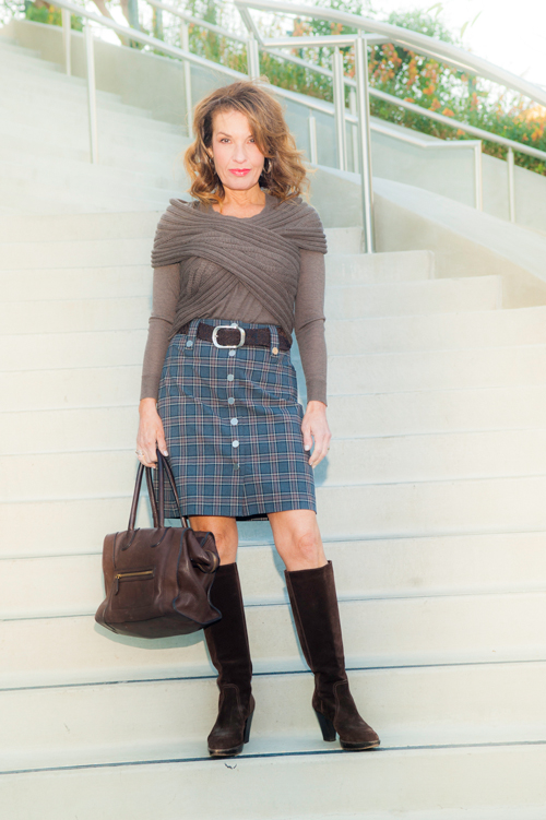 Top, Wrap, and Skirt all by Worth New York, Vintage Boots, Vintage Celine Handbag, Oliver Peoples Sunglasses.