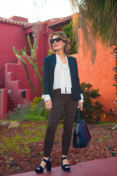 The Row Jacket and Pants, Mantu Blouse, Gianvito Rossi Sandals; all available at Savannah Santa Monica.Prada Bag,Celine Shades.