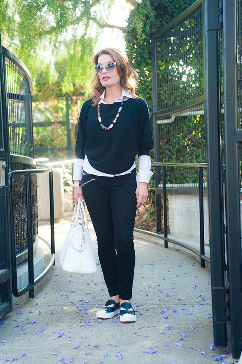 Diane Cotton Necklace, Fendi Shoes, Worth New York Blouse and Sweater, J Brand Jeans, Maison Margiela Handbag, Christian Dior Sunglasses.
