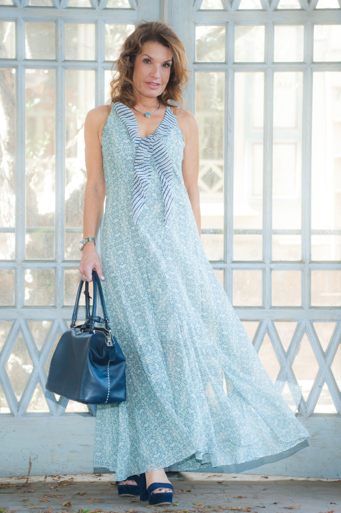Cabi Maxi Dress, Gianvito Rossi Sandals, Prada Handbag, Jewelry Bar Necklace, Chanel Sunglasses.
