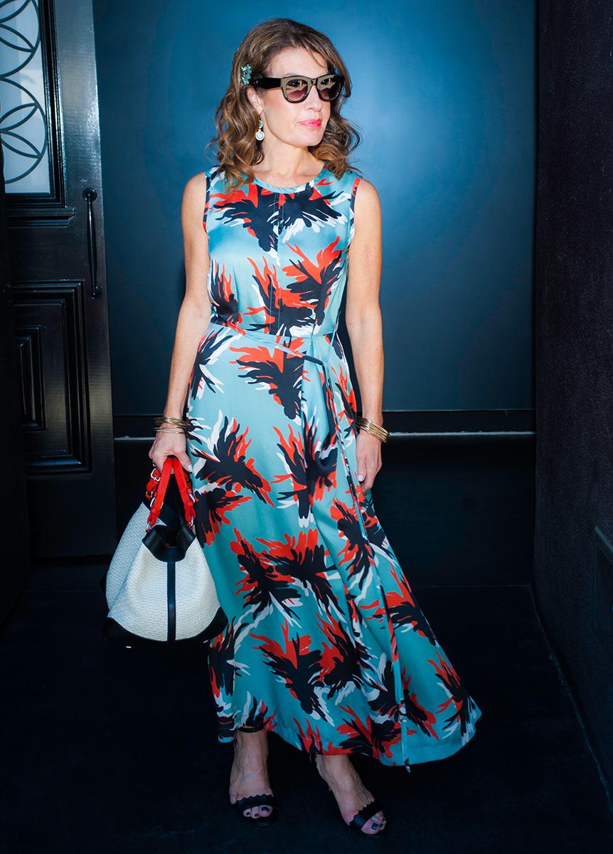 Comrags Long Maxi Dress ,Chloe Sandals, Celine Shades, Jewelry Bar Earrings and Bracelet, Caroline Di Marchi Handbag.