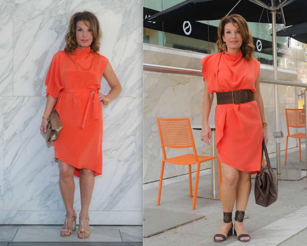 Left: Topshop Dress, Mulberry Clutch, Gianvito Rossi Sandals, Jewelry Bar Bangles, Robin Terman Earrings.   Right: Topshop Dress, Celine Bag, Valentino Sandals, Hipanema Earrings, Vintage Brown Belt.
