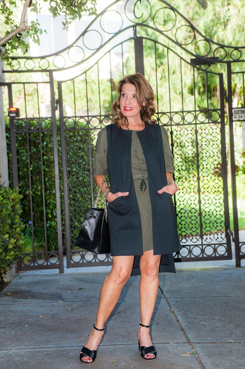 Cabi Vest, Zara Dress, Topshop Sandals, Balenciaga Handbag, Lanvin Necklace, Robin Terman Bracelets.