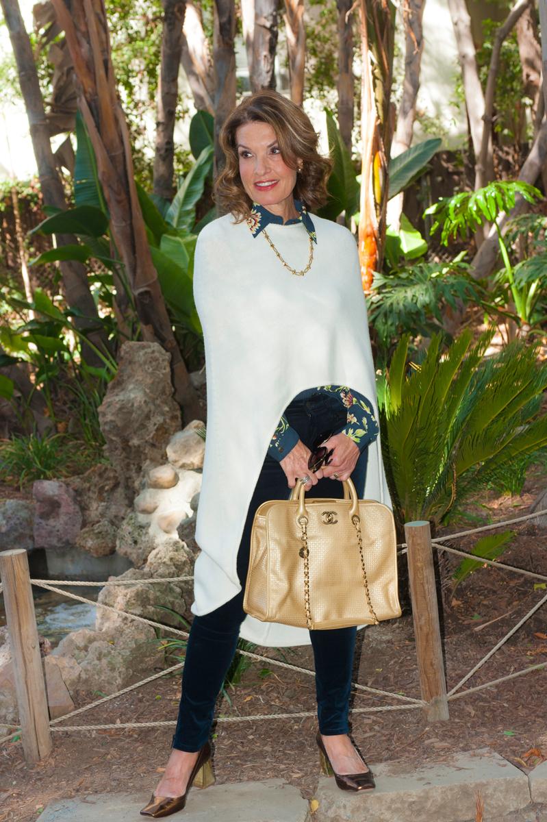 Maje Poncho, Cabi Blouse, Rag and Bone Jeans, Zara Shoes, Chanel Handbag, Robin Terman Necklace, Dior Tribal Earrings.