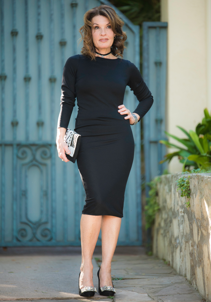 Wolford Dress   ,    Mary Frances Clutch   , Strategia Pump, (similar    here   ), Robin Terman Chokers, Chanel Bracelet, Celine Sunglasses.