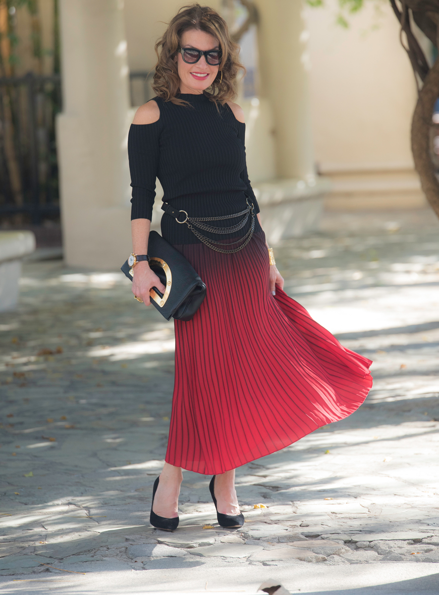Maje    Skirt    and Top (similar    here   ), Worth New York Belt, Chloe Shoes, Tom Ford Clutch, Celine Sunglasses, Calypso Hoops, Vintage Watch and Vintage YSL Cuff.