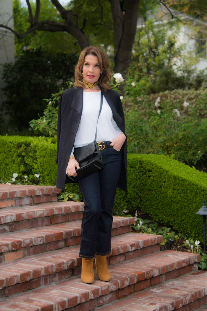 Level 99 Blazer (   similar here   ),    Julie Starr Dresner scarf   , Minnie Rose sweater (available at    BOCA Santa Monica   , or similar    online here   ), Gucci belt,    AG jeans   , Bally cross body bag( similar for much less    here   ),    Stuart Weitzman booties   ,    Ippolita ring   ,    Robin Terman bracelets   .