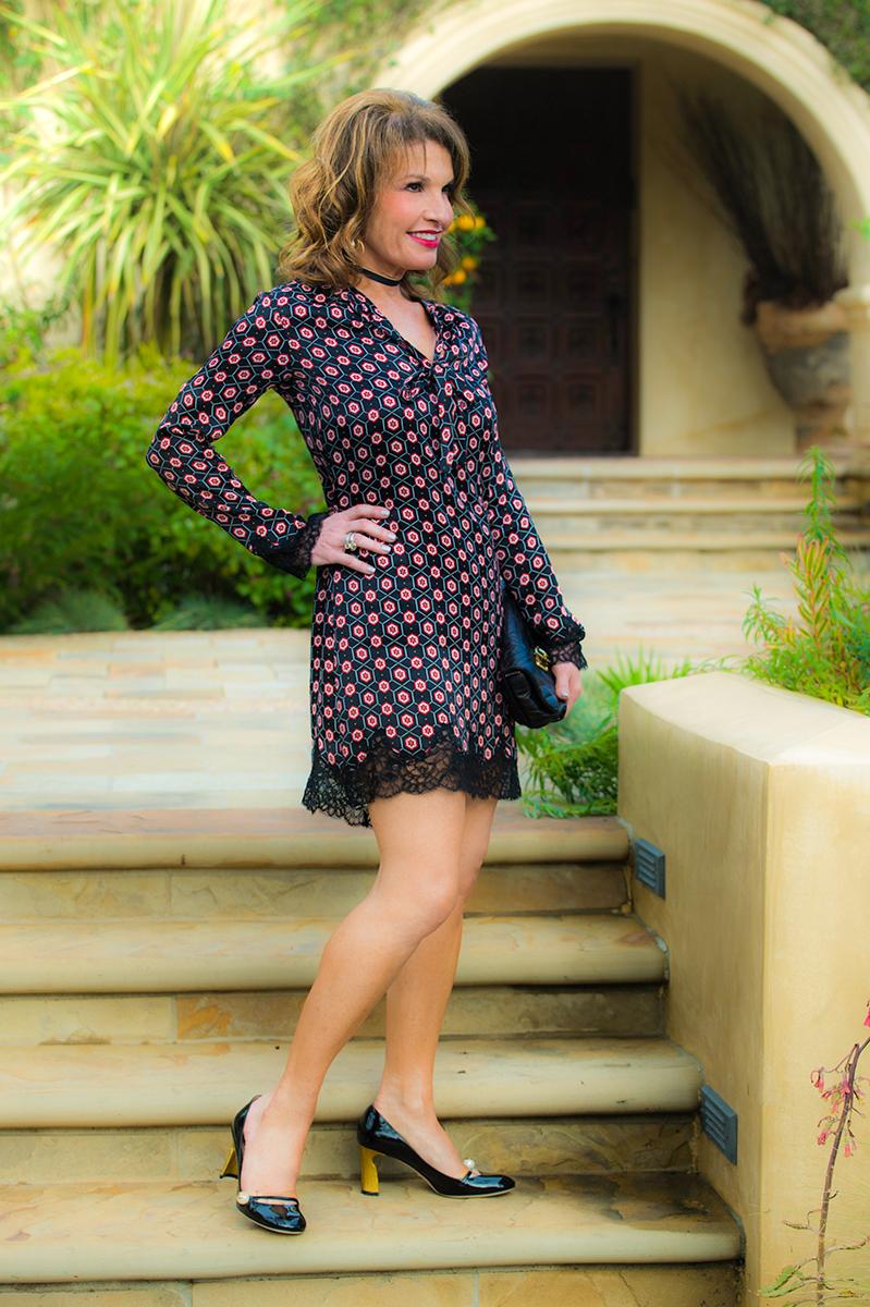 Sandro dress   ,    Lanvin handbag   ,    Gucci shoes   ,    Robin Terman chokers   ,    Savannah Santa Monica earrings.