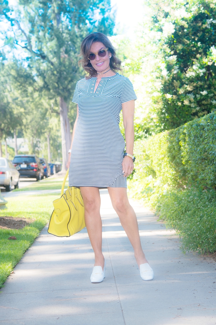 Cabi dress, Bally shoes, Celine bag, J Crew bracelet similar here, Robin Terman chokers, Cabi earrings similar here, Oliver Peoples sunglasses