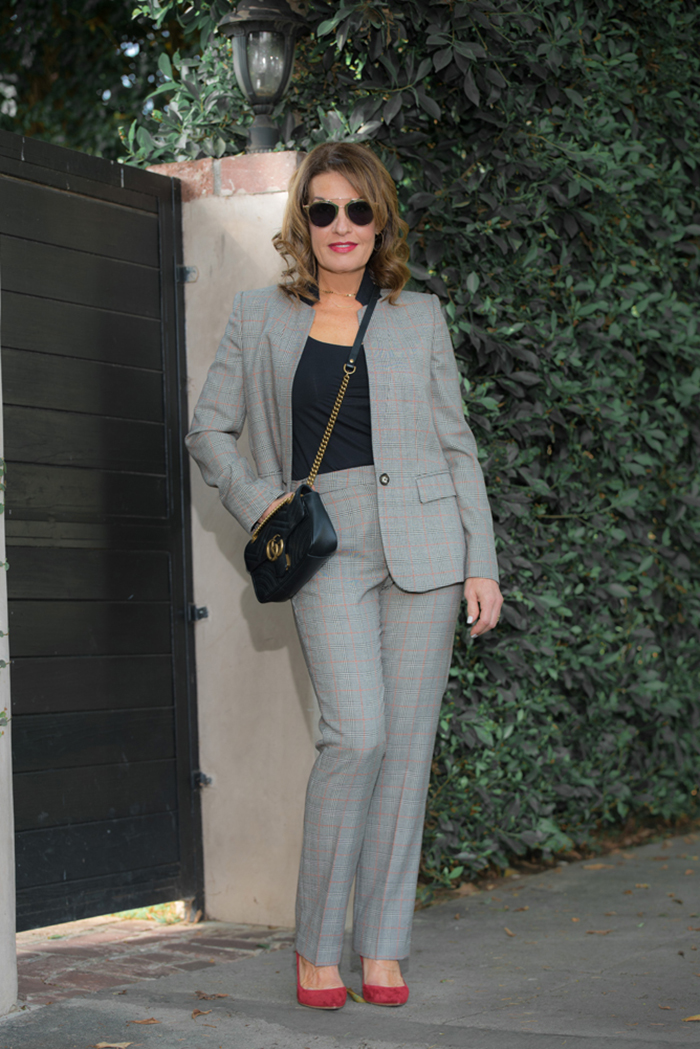 Stella McCartney blazer     and    pants   ,     similar look for less here   and    here,      Wolford tank,        Gianvito Rossi pumps  ,    similar for less here    ,  Gucci handbag       Christian Dior Shades .