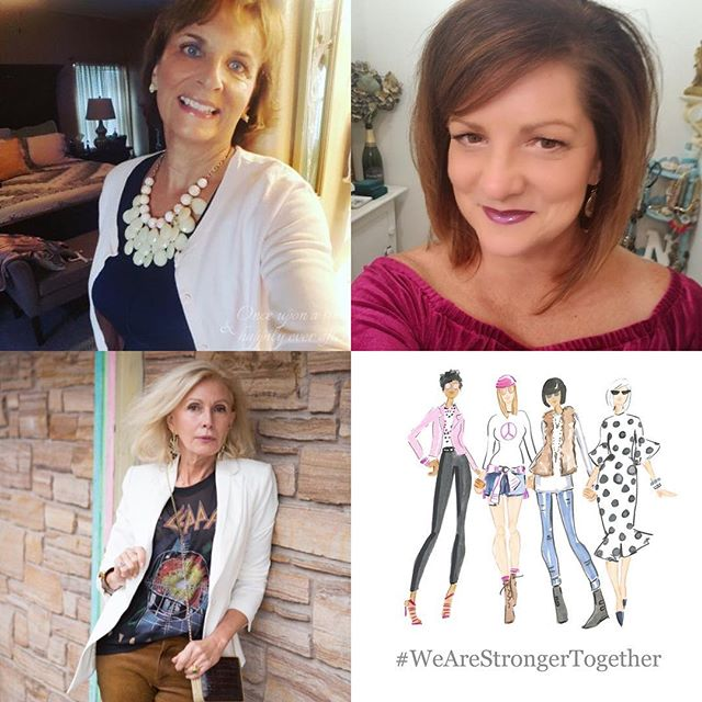 """It's #followfriday and I want to introduce you to my new fabulous friends!! From upper left meet Leslie Roberts Clingan of @onceuponatimehappilyeverafter: From full-time wife, busy mom and school librarian to a retired, empty-nester with time on her hands.  Leslie is rediscovering herself in this new chapter in life and blogging about it along the way. Upper right is Nikki Gwin @gwingal: Nikki says that when mid-life found her, she made up her mind that she was going to venture out of her comfort zone and do some things that interest her, that she had been afraid to do in the past. Flying in helicopters. Zip Lining. Taking dance lessons. Swimming with dolphins. Blogging. Loving Life after 50 and blogging about it! Bottom left is Sonia Lovett who says """"I was born in Cape Town South Africa from Italian and British parents. I was raised in Buenos Aires , Argentina and thought out South America.  I have traveled extensively and was educated in European schools .  My interests  range from architecture. (I have designed and been the general contractor on the houses I have lived in) to real estate investment and from painting  to fashion. I am multilingual and travel is a passion for me.  My style is classic with a bit of an edge.  My goal is to inspire women of all ages to be their best selves."""" #50plusandfabulous #fierce50revolution #50plusstyle #strongertogether #girlpower #womensupportingwomen #50plusbloggers #fashionafter50 #womenempoweringwomen"""