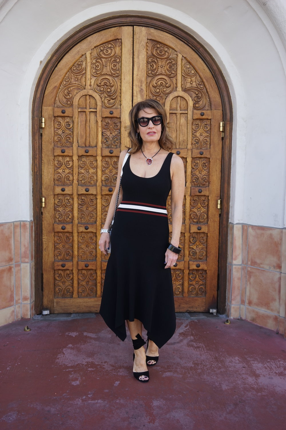 ALC dress    on sale here   , Gianvito Rossi sandals    similar and on sale here   , Chanel handbag    similar for less here   , Lanvin bangle    similar for much less here   ,   Celine sunglasses