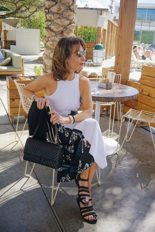 Cedric Charlier dress, Chanel sandals and handbag, comrags sweater, John Hardy earrings, The jewelry bar bracelets, Miu Miu sunglasses