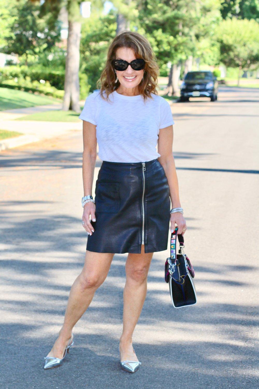 ATM t-shirt   ,    Tiger of Sweden skirt similar here   ,    Maui Jim sunglasses   ,    Tabitha Simmons shoes   , Fendi handbag, Spinelli Kilcollin ring, The Jewelry Bar bracelets,John Hardy earrings.