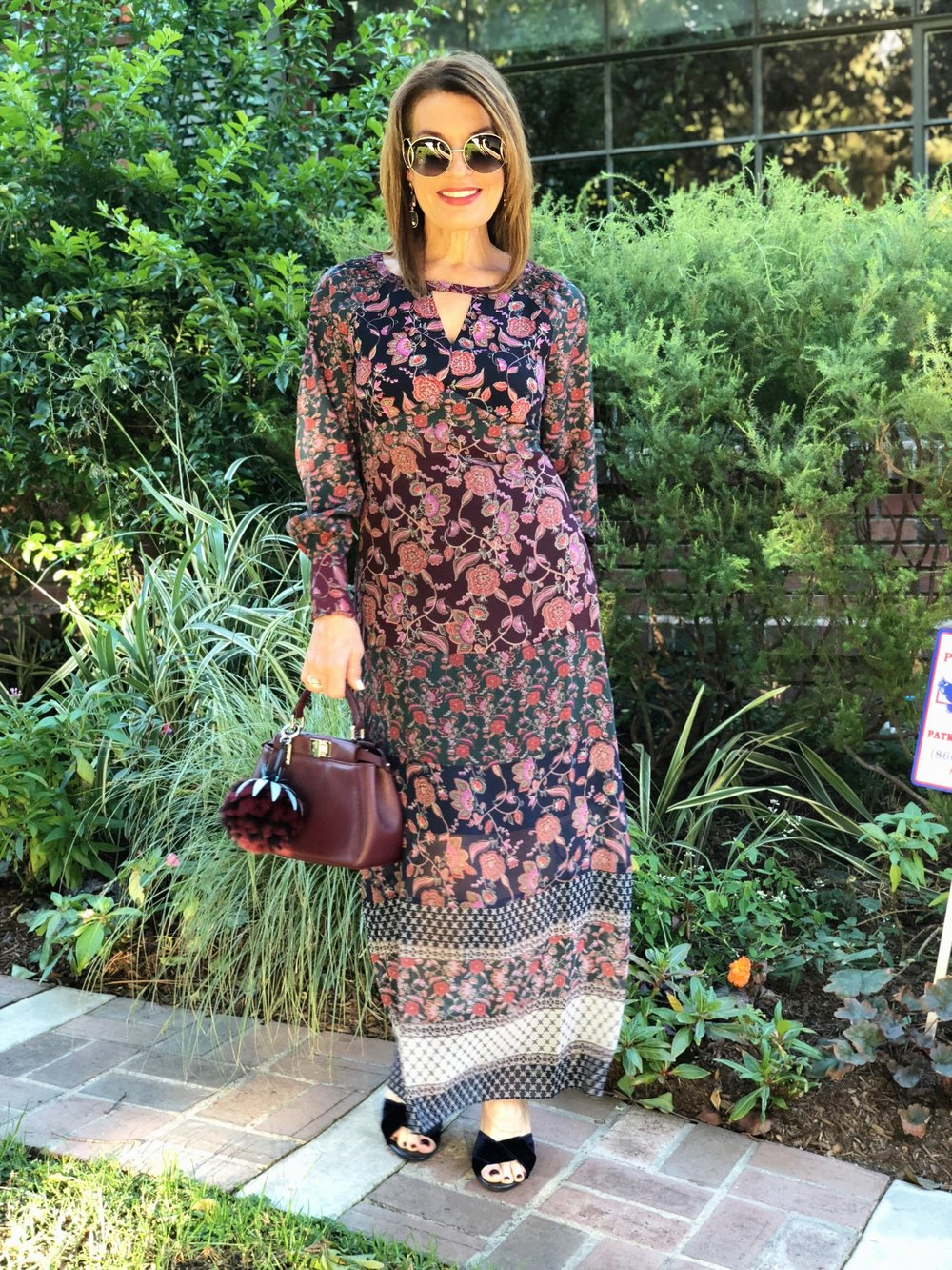 Cabi dress,    Fendi handbag    similarly fabulous here   ,    and here    ,   Chloe sunglasses,    Maje sandals   also seen here  ,    Ele Keats earrings