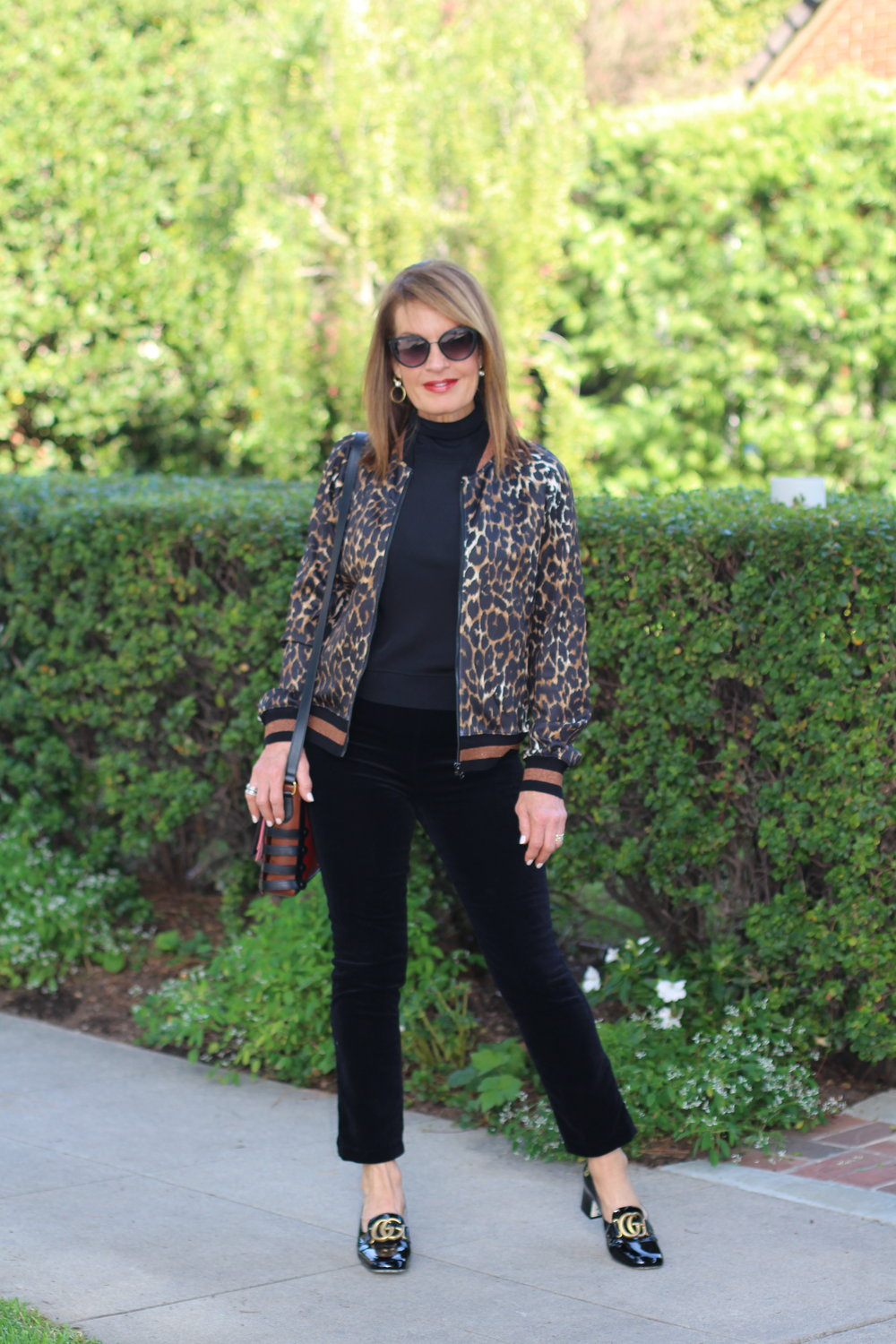 Pam and Gela jacket   , Theory top,    J Brand velvet pants   ,    Gucci shoes   , Christian Louboutin handbag,    Chanel Sunglasses   , Madewell earrings